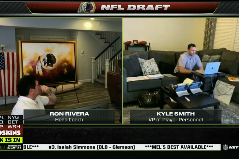 Screens of Ron Rivera and Kyle Smith working from their houses