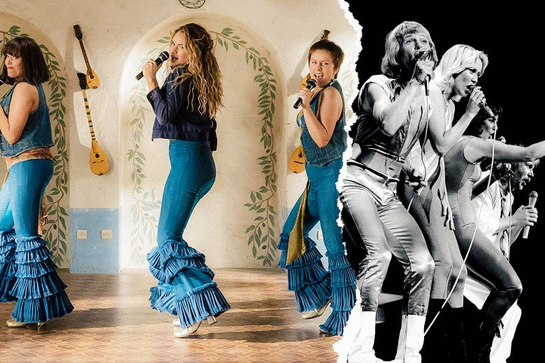 A collage of a still from Mamma Mia: Here We Go Again and a photo of Abba.