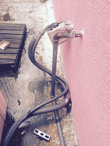 Damage to a hose outside the Jackson Women's Health Organization.