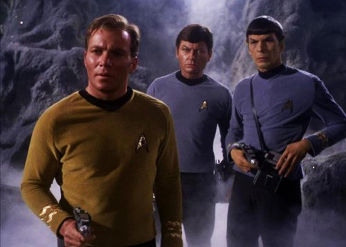 Leonard Nimoy, William Shatner, and DeForest Kelley in Star Trek.