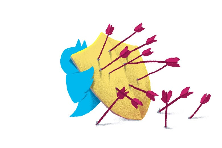 Illustration of a Twitter bird holding a shield with arrows stuck in it.