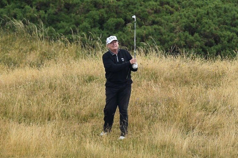 President Trump plays a round of golf at Trump Turnberry Luxury Collection Resort during his first official visit to the U.K. on July 15, 2018.