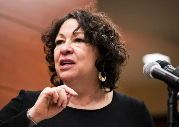 Supreme Court Justice Sonia Sotomayor speaks during a ribbon-cutting ceremony at George Washington University's Jacob Burns Community Legal Clinics on Jan. 23, 2014, in Washington, D.C.