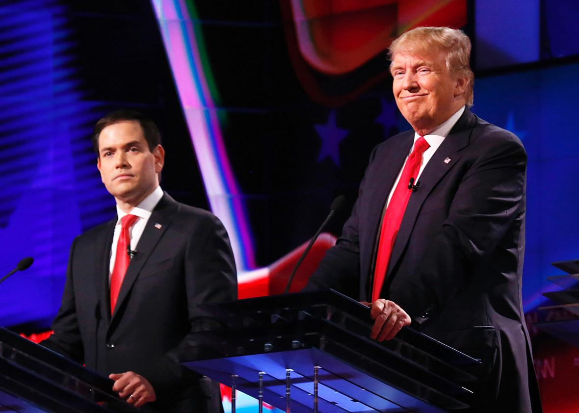 The four remaining Republican primary candidates Marco Rubio, Donald Trump, Ted Cruz, and John Kasich take part in a debate at the University of Miami on March 10, 2016, hosted by CNN and the Washington Times.