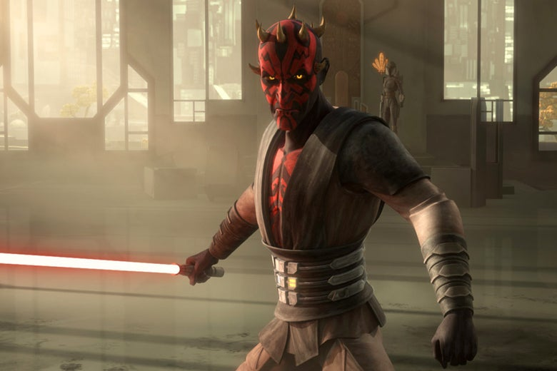 Darth Maul, a 3D animated character, holds a red lightsaber