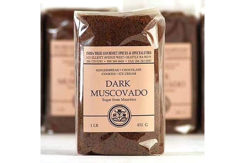 Clear package of dark muscovado sugar