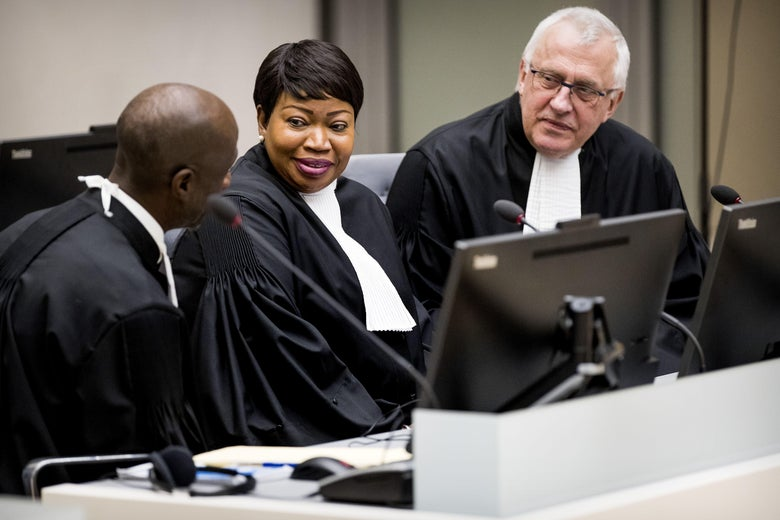 International Criminal Court Chief Prosecutor Fatou Bensouda and deputy prosecutor James Stewart at the ICC in The Hague.