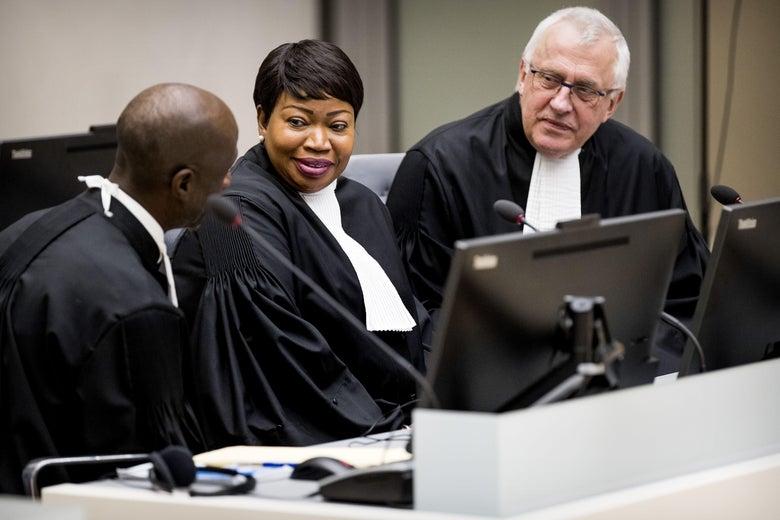 International Criminal Court Chief Prosecutor Fatou Bensouda and deputy prosecutor James Stewart at the ICC in The Hague.