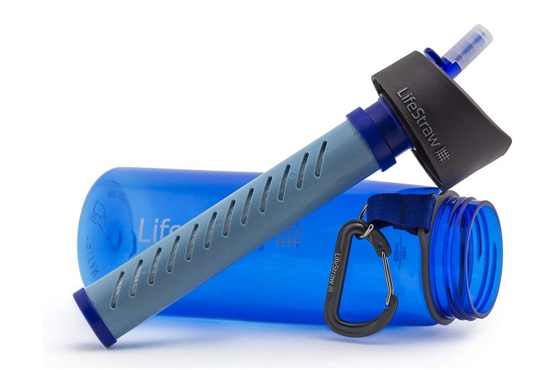 A LifeStraw and blue bottle.