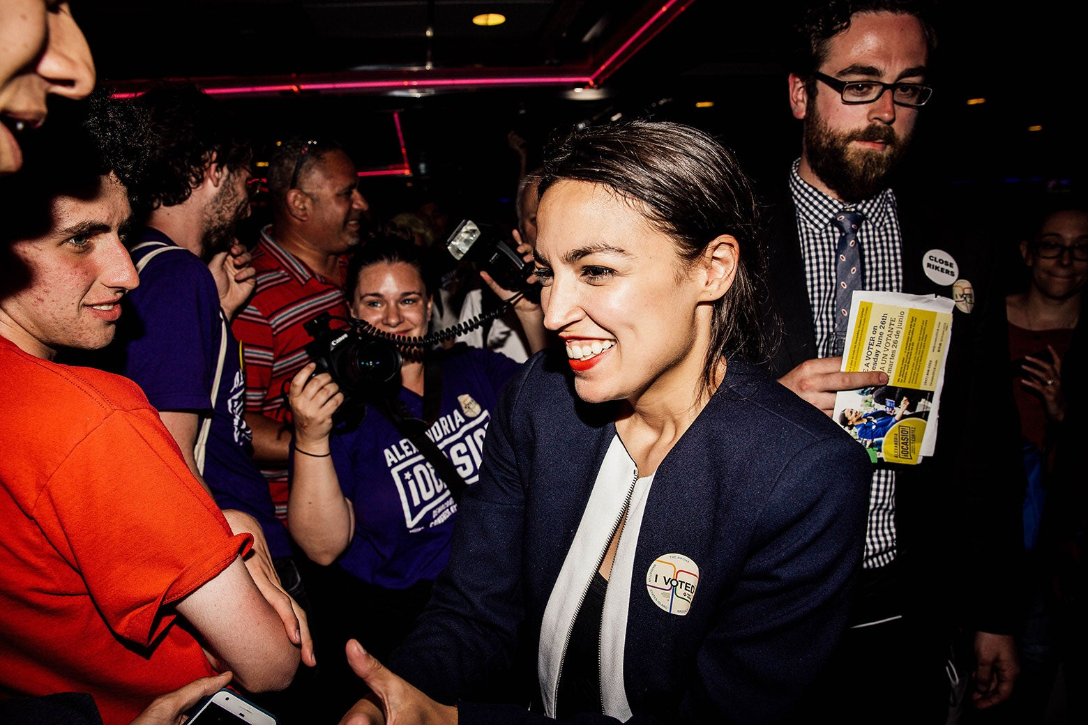 Alexandria Ocasio-Cortez celebrates with supporters at a victory party on Tuesday.