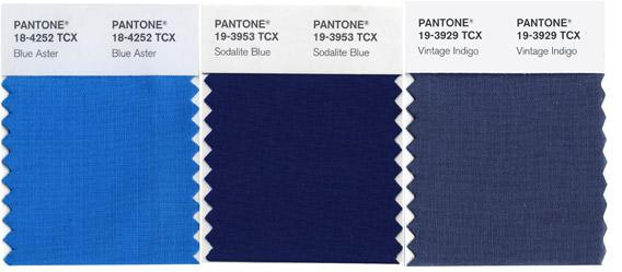 Pantone's shades of blue.