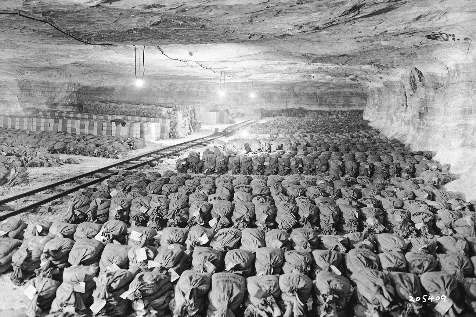 Capture of Germany's Gold Reichsbank wealth, SS loot, and Berlin Museum paintings that were removed from Berlin to a salt mine vault located in Merkers, Germany, 1945.