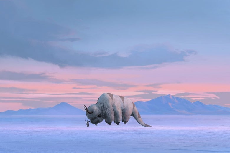 Protagonist Aang and his flying bison, Appa