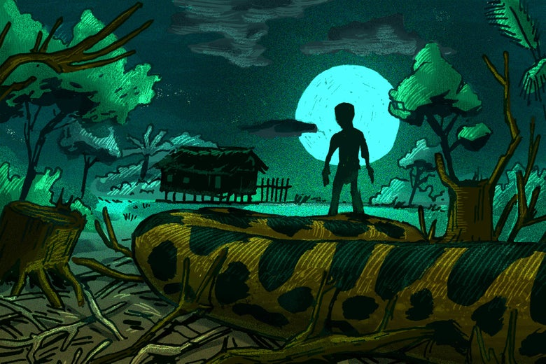 Large snake in a ruined environment ominously approaching a human standing silhouetted by the moon.