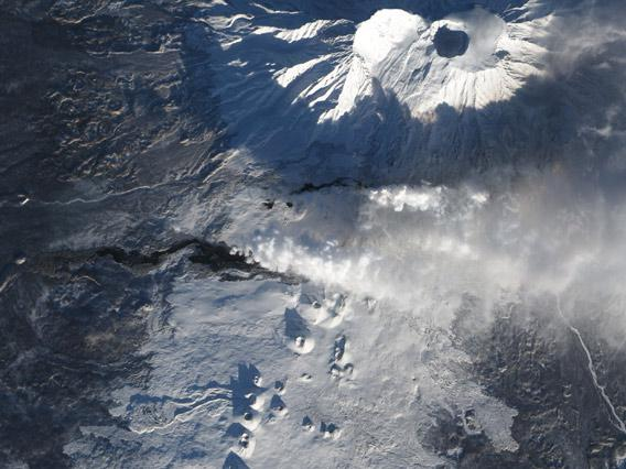 Plosky Tolbachik volcano eruption seen from space