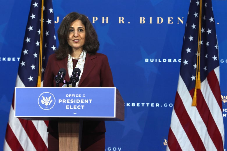 Director of the Office of Management and Budget nominee Neera Tanden speaks during an event to name President-elect Joe Biden's economic team on December 1, 2020 in Wilmington, Delaware.