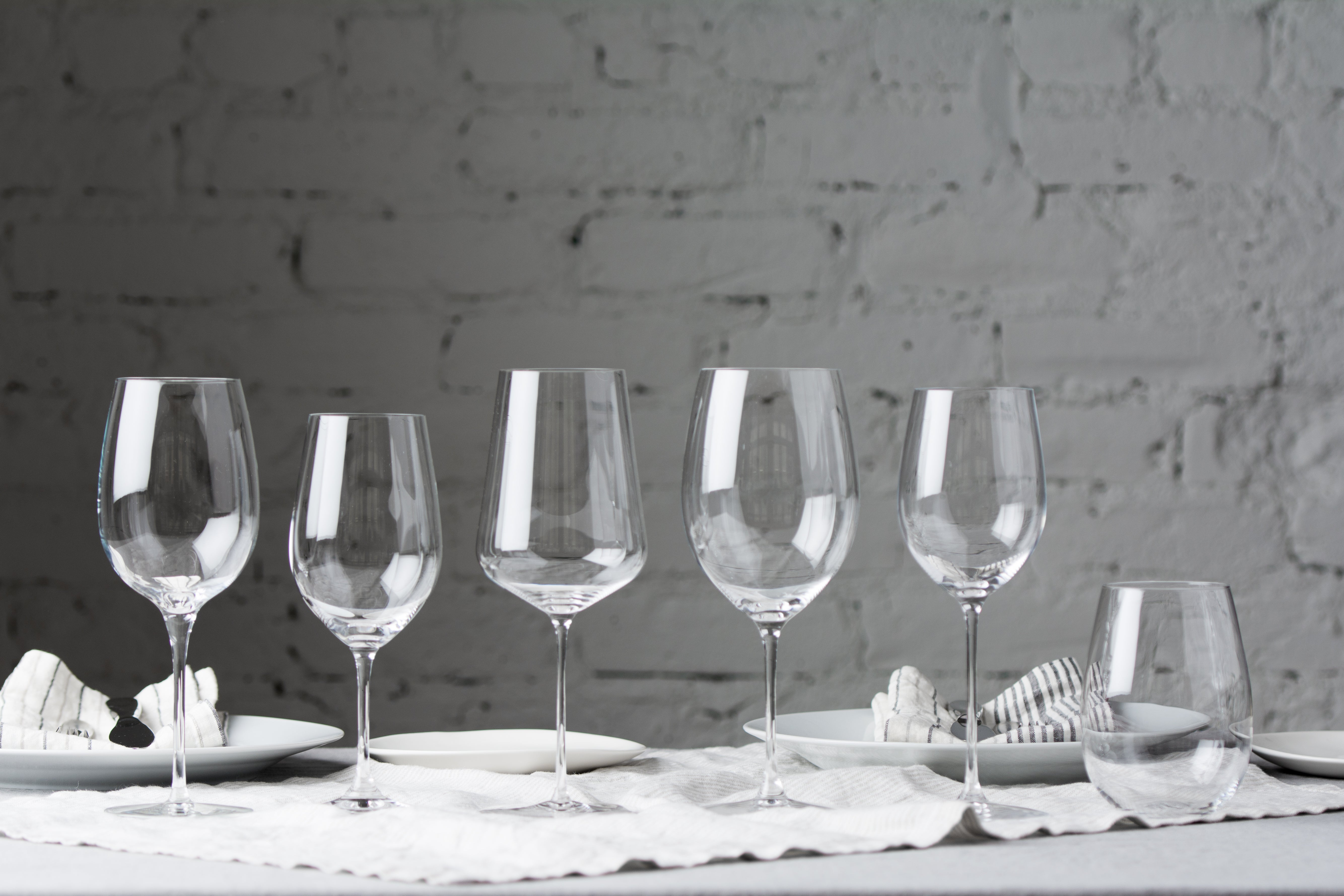 lined up wine glasses