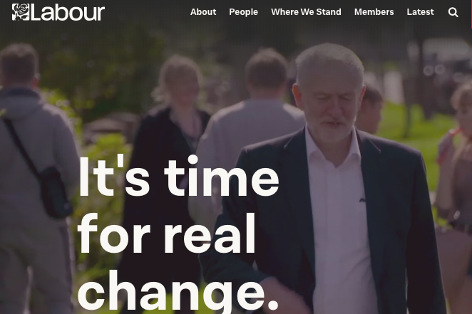 "The Labour Party website homepage with the phrase in text: ""It's time for real change."""