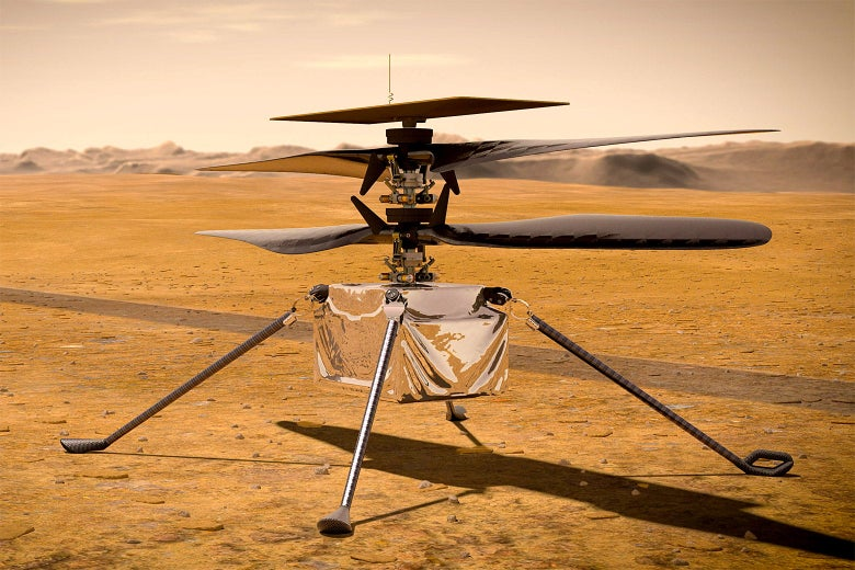 An illustration of the Ingenuity Mars helicopter on the martian surface.