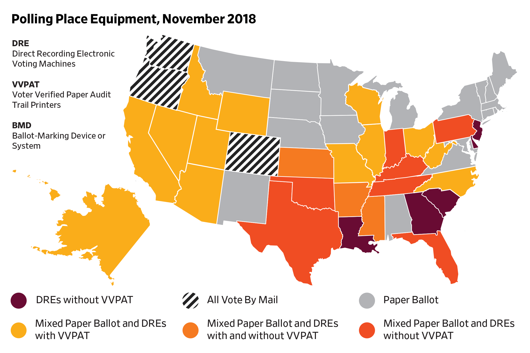 Map of polling place equipment, 2018