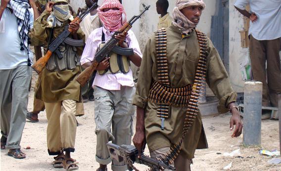 Shabab militia patrol Bakara Market in Mogadishu.