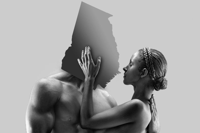 A cutout of the state of Georgia is superimposed over the head of a muscular, shirtless man. In his arms is a woman touching his face.