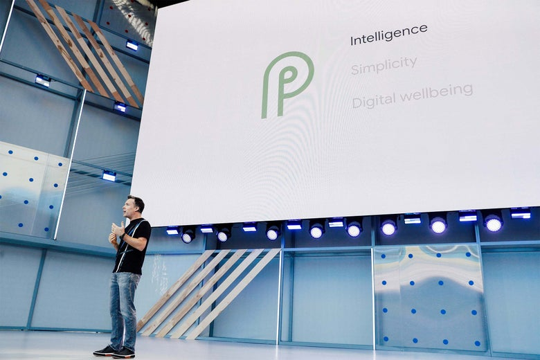 Dave Burke, Android vice president of engineering, speaks onstage during the annual Google I/O developers conference in Mountain View, California, on Tuesday.