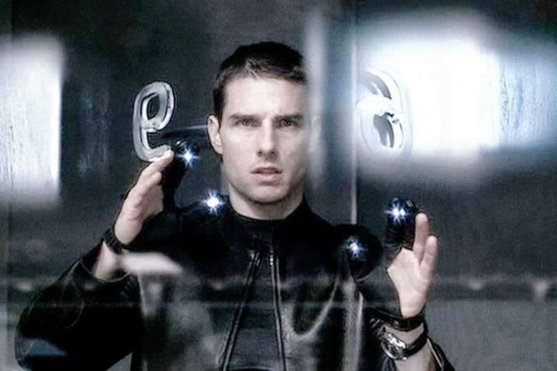 Tom Cruise wears gloves with light-emitting diodes.