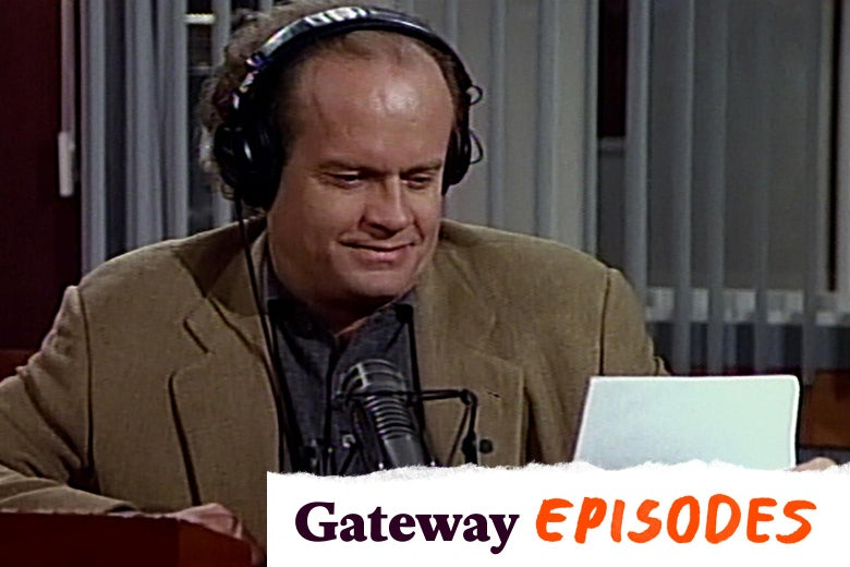 In a scene from Frasier, Frasier, wearing headphones, reads from a piece of paper on his radio show.
