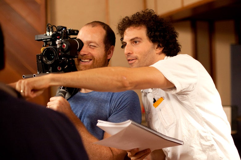 Joel Levinson, right, directs a scene for Boy Band with Paul Rondeau, the cinematographer.