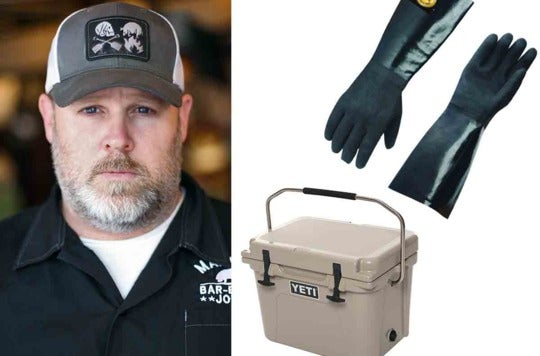 Patrick Martin and the cooking gloves and cooler.