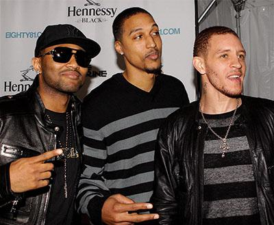 West attends an event in Chicago with teammates Jamario Moon and Mo Williams in 2010.