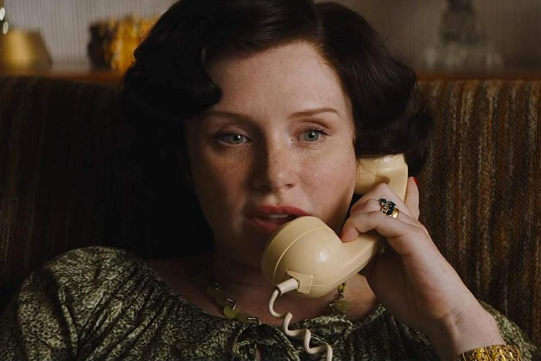 Bryce Dallas Howard talking on a telephone.