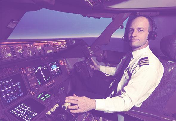 Mark Vanhoenacker in a British Airways 747 flight simulator at L