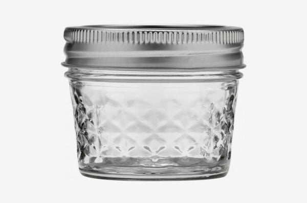 Ball 4-oz. Quilted Crystal Jelly Jar with Lid and Band.