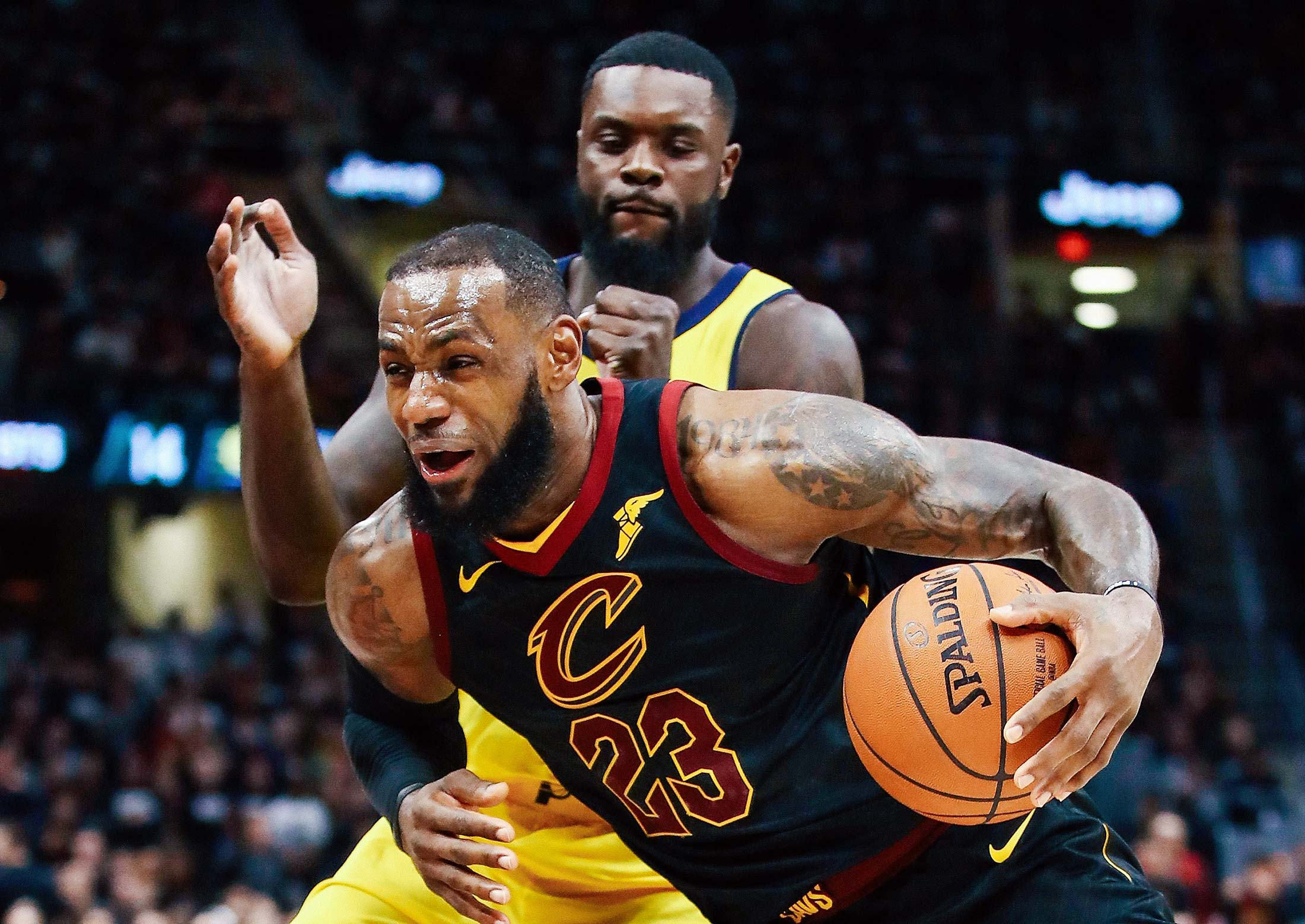 LeBron James #23 of the Cleveland Cavaliers drives past Lance Stephenson #1 of the Indiana Pacers during the second half in Game One of the Eastern Conference Quarterfinals during the 2018 NBA Playoffs at Quicken Loans Arena on April 15, 2018 in Cleveland, Ohio.