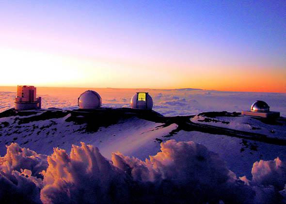 Telescopes on Mauna Kea, Hawaii, Feb. 2008.