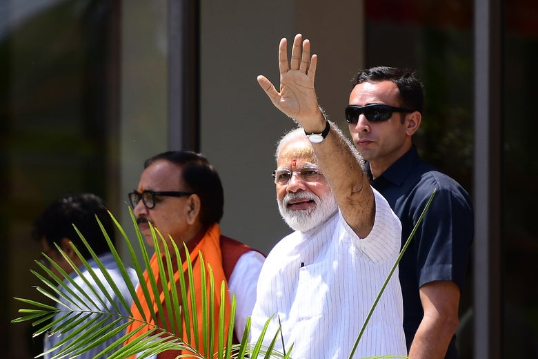 Narendra Modi waves.