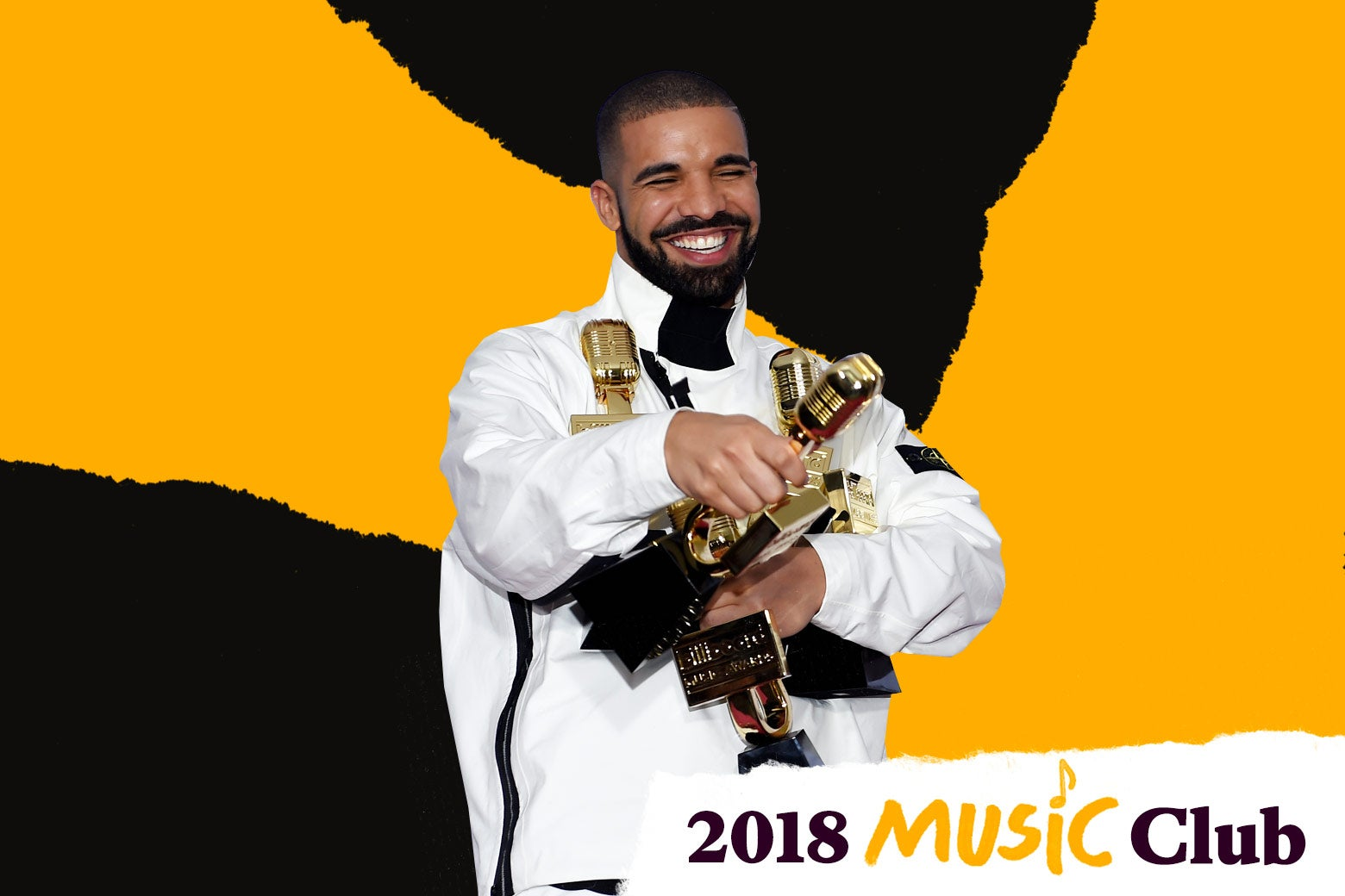 Drake with Billboard Music Awards trophies