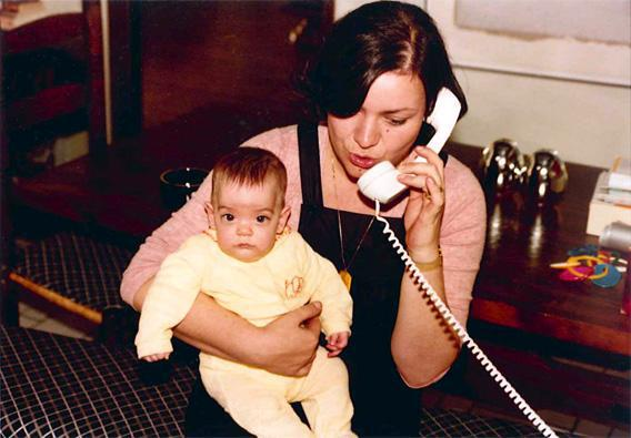 Helen Kushnick holding her child.