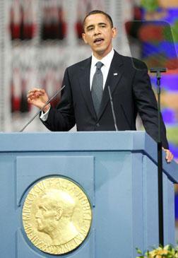 President Barack Obama accepts the Nobel Peace Prize.