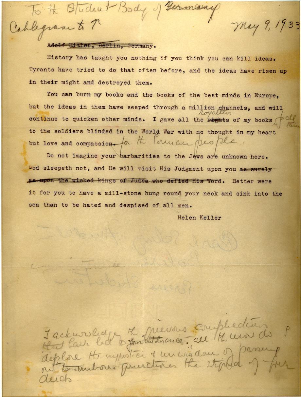 Helen Keller letter