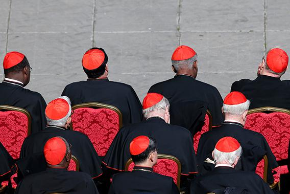 Cardinals attend the last general audience of Pope Benedict XVI in Saint Peter's Square at the Vatican, February 27, 2013.