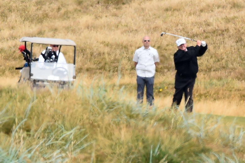 President Donald Trump plays a round of golf at Trump Turnberry on July 14, 2018.