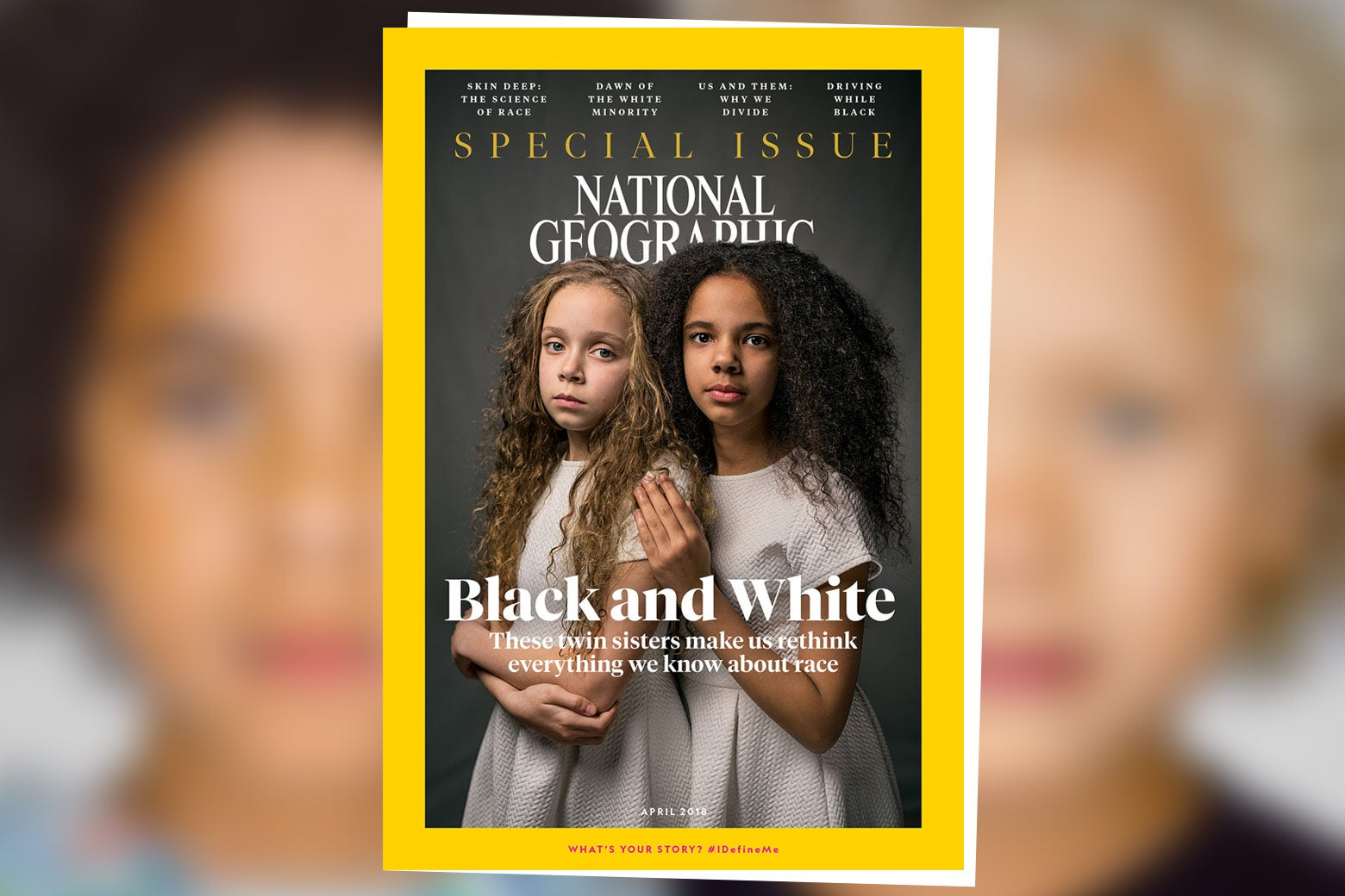 The cover of National Geographic's current special issue about race, featuring biracial twins.