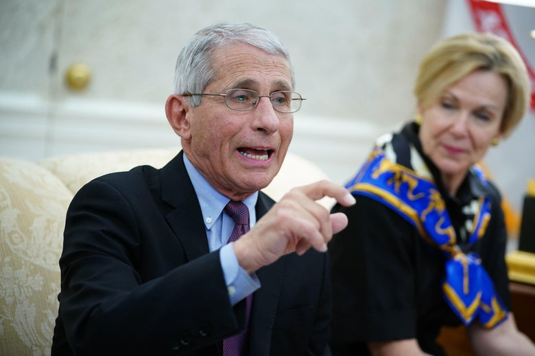 Anthony Fauci, director of the National Institute of Allergy and Infectious Diseases, speaks next to Response coordinator for White House Coronavirus Task Force Deborah Birx, during a meeting with President Donald Trump and Louisiana Governor John Bel Edwards D-LA in the Oval Office of the White House in Washington, D.C. on April 29, 2020.