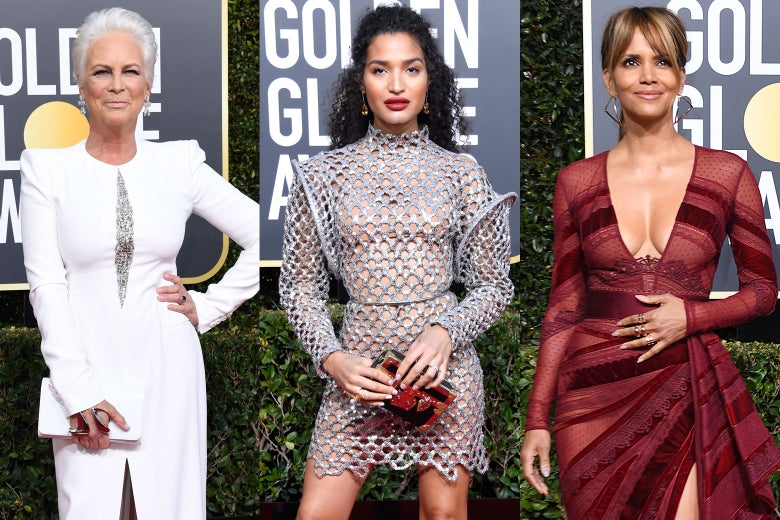 Jamie Lee Curtis, Indya Moore, and Halle Berry at the 2019 Golden Globes.