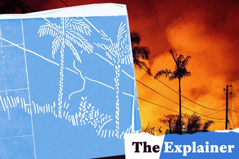 Photo illustration: volcanic activity in Hawaii with a blue/white cutout. Photo illustration by Slate. Photo by Ronit Fahl/AFP/Getty Images.