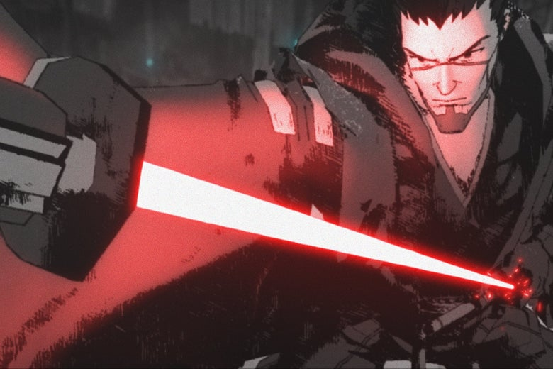 In an animated style, a man holds the hilt of a red lightsaber.