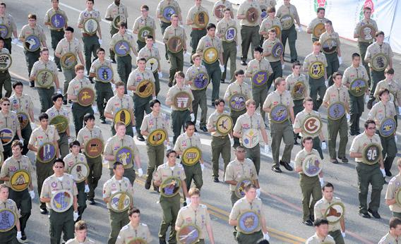 Members of the Boy Scouts of America participate in the 121st Annual Tournament of Roses parade.